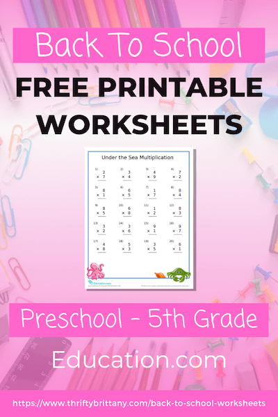 FREE Printable Worksheets For Preschool To Fifth Grade - Thrifty Brittany